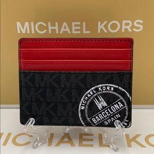 MICHAEL KORS COOPER TALL CARD CASE BLACK/SCARLET